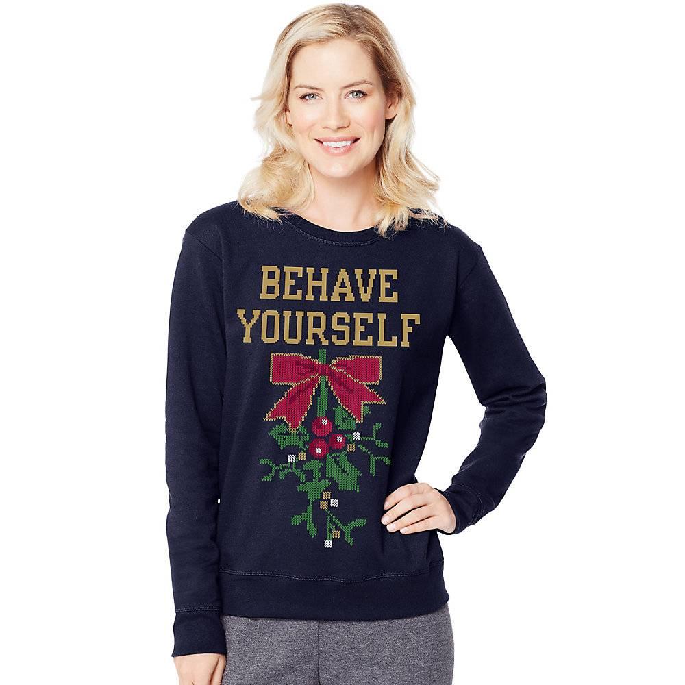 ac89520855b Hanes Women s Ugly Christmas Graphics Sweatshirt O4876