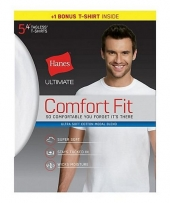 Hanes Ultimate Men's Comfort Fit White Crewneck Undershirt Bonus Pack