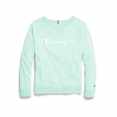 Champion Women's Plus Heritage French Terry Crew, Chainstitch Logo