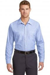 Red Kap Long Sleeve Striped Industrial Work Shirt. CS10