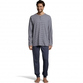 Hanes Men's 1901 Heritage Striped Henley Crewneck and Jogger Pant Lounge Set