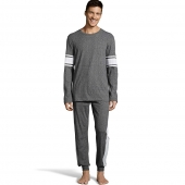 Hanes Men's 1901 Heritage Striped Sleeve Crewneck and Jogger Pant Lounge Set