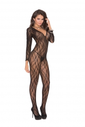 Elegant Moments Deep V Long Sleeve Bodystocking With Open Crotch - 1619