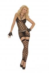 Elegant Moments Diamond Net Halter Neck Mini Dress, G-String And Footless Thigh High'S - 1559