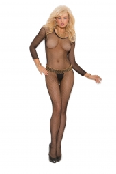 Elegant Moments Fishnet Long Sleeve Bodystocking With Open Crotch - 1615