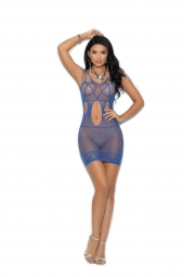 Elegant Moments Fishnet Mini Dress With Cut Out Detail - 1320