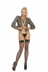 Elegant Moments Fishnet Thigh High With Satin Bow - 1742