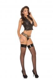 Elegant Moments Fishnet Thigh High With Vinyl Top - 1769