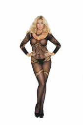 Elegant Moments Long Sleeve Crochet Bodystocking - 1289