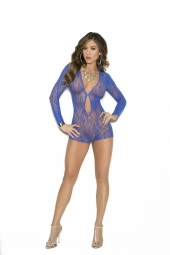 Elegant Moments Long Sleeve Lace Romper With Keyhole Front - 1593
