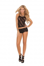 Elegant Moments Opaque Burnout Cami Top And Matching Booty Shorts - 1510