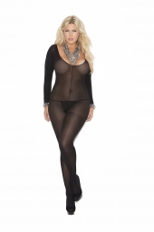 Elegant Moments Opaque Long Sleeve Bodystocking With Open Crotch  - 1606
