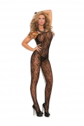 Elegant Moments Rose Lace Bodystocking With Open Crotch - 1610