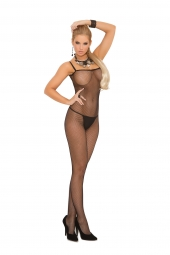 Elegant Moments Seamless Fishnet Criss Cross Back Bodystocking - 1611