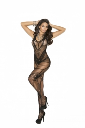 Elegant Moments Seamless Net Crochet Bodystocking With Open Crotch - 1650