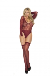 Elegant Moments Sheer Burnout Long Sleeve Teddy And Matching Stockings - 1358