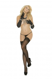 "Elegant Moments Sheer Thigh Hi With ""Stay Up"" Silicone Lace Top - 1753Q"