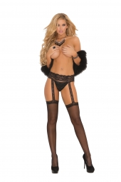 Elegant Moments Sheer Thigh Hi With Lace Garter Belt - 1714