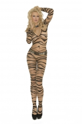Elegant Moments Sheer Zebra Print Long Sleeve Bodystocking - 1690