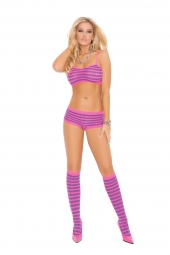 Elegant Moments Striped Booty Shorts, Cami Top And Knee Highs - 1548
