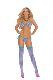 Elegant Moments Striped String Bra, Tie Side Thong And Matching Stockings - 1404