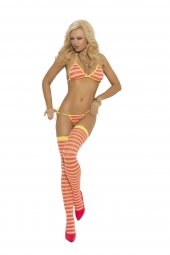 Elegant Moments Striped String Bra, Tie Side Thong And Matching Stockings - 1535