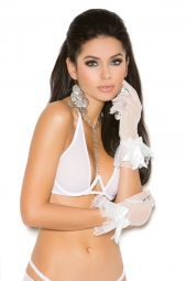 Elegant Moments 1172 Mesh Wrist Length Gloves With Ruffle Trim
