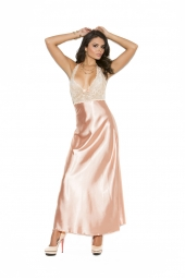 Elegant Moments 1969 Lace And Charmeuse Halter Neck Gown