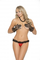 Elegant Moments 2482 Satin And Lace Crotchless Panty