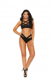 Elegant Moments 30009 Strappy Lycra Cami Top And Matching Cheeky Panty