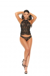 Elegant Moments 30014 Crochet Lace Halter Cami Top With Matching Panty