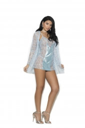 Elegant Moments 4352 Lace Babydoll With Satin Panels In Front With Adjustable Straps