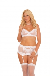 Elegant Moments 5754 Embroidered Mesh Underwire Bra With Adjustable Straps