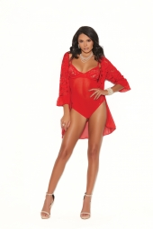 Elegant Moments 77035 Mesh And Lace Teddy With Underwire Cups