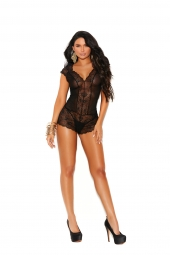 Elegant Moments 77048 Dotted Mesh And Lace Deep V  Romper