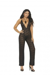 Elegant Moments 77085 Deep V Lace Jumpsuit With Adjustable Straps