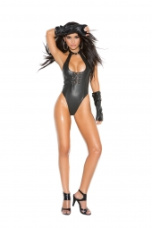 Elegant Moments L2256 Leather Teddy With Buckle Front Detail And Thong Back