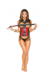 Elegant Moments L3153 Leather Corset With Lace Up Front Detail