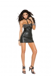 Elegant Moments L8151 Leather Mini Dress With Studded Underwire Cups