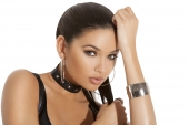 Elegant Moments L9173 Leather Choker With Studs