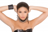 Elegant Moments L9175 Leather Choker With 3 Chains