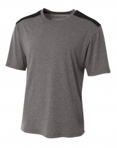 A4 N3100 Tourney Heather Short Sleeve Color Block For Adult Size Male