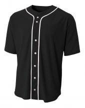 A4 N4184 Short Sleeve Full Button Baseball Jersey