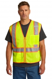 CornerStone CSV103 ANSI 107 Class 2 Mesh Zippered Two-Tone Vest