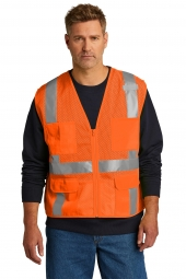 CornerStone CSV104 ANSI 107 Class 2 Mesh Six-Pocket Zippered Vest