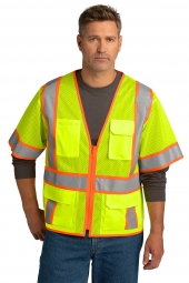 CornerStone CSV106 ANSI 107 Class 3 Surveyor Mesh Zippered Two-Tone Short Sleeve Vest