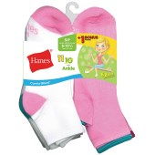 Hanes ComfortBlend® EZ-Sort® Girls' Ankle Socks (Includes 1 Free Bonus Pair)