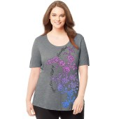 Just My Size Women's Plus-Size Short-Sleeve Scoop-Neck Graphic T-Shirt