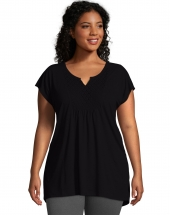 Just My Size Short-Sleeve Slub-Jersey Women's Tunic with Split V-Neck Crochet Bib Yoke