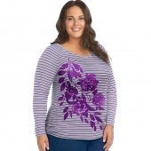 JMS Soft Flower Mix Long Sleeve Side Shirred Graphic Tee